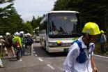 10時30分ごろ小学校3年生を乗せたバスが到着